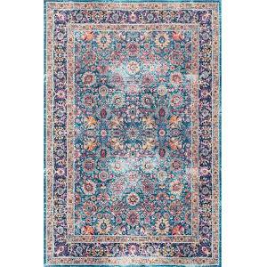 Vintage Persian Floral Isela Blue Rectangular: 9 Ft. x 12 Ft. Rug