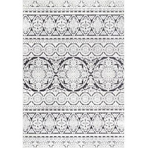 Jeannie Floral Black and White Rectangular: 5 Ft. x 8 Ft. Rug