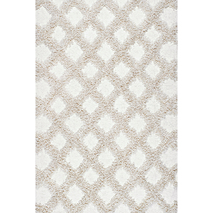 Francene Diamon Trellis Shaggy Ivory Rectangular: 7 Ft. 6 In. x 9 Ft. 6 In. Rug