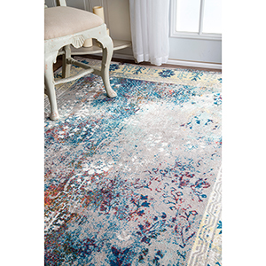 Vintage Dotty Blue Runner: 2 Ft. 6 In. x 8 Ft. Rug