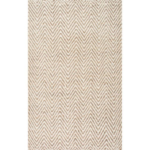 Vania Chevron Jute Bleached Rectangular: 7 Ft. 6 In. x 9 Ft. 6 In. Rug