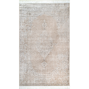 Beige Vintage Medallion Cantrell Fringe Rectangular: 7 Ft. 6 In. x 9 Ft. 6 In.