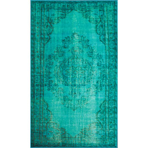 Vintage Inspired Turquoise Rectangular: 5 Ft 5 In x 8 Ft 2 In Rug
