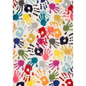 Pinkie Handprint Multicolor Rectangular: 4 Ft. 1 In. x 6 Ft. Rug