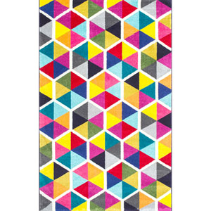 Maris Triangles Multicolor Rectangular: 8 Ft. x 10 Ft. Rug