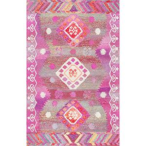 Tribal Diamond Valene Pink Runner: 2 Ft. 6 In. x 8 Ft. Rug