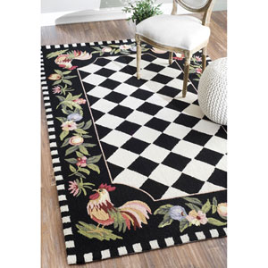 Trellis Country Rooster Black Rectangular:  5 Ft. x 8 Ft. Rug