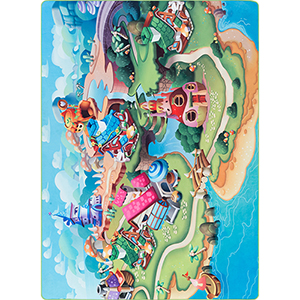Dwarf Island Playtime Multicolor Rectangular: 5 Ft. 3 In. x 7 Ft. 3 In. Rug