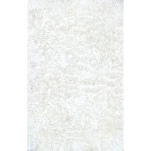 Latonia Silken Pearl White Shag Rectangular: 4 Ft. x 6 Ft.
