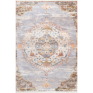 Shaunda Medallion Fringe Grey Rectangular: 8 Ft. x 10 Ft. Rug