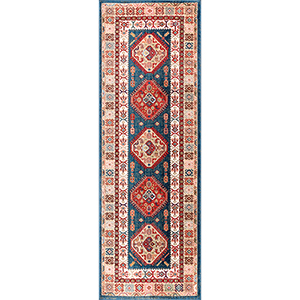 Qiana Emblem Fringe Blue Runner: 2 Ft. 8 In. x 8 Ft. Rug