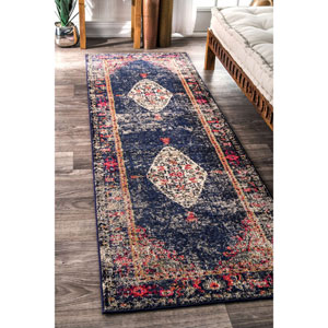 Vintage Medallion Veronica Navy Runner: 2 Ft. 6 In. x 8 Ft. Rug