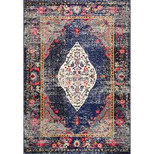 Vintage Medallion Veronica Navy Rectangular: 4 Ft. x 6 Ft. Rug