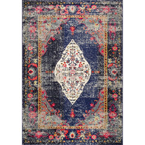 Vintage Medallion Veronica Navy Rectangular: 5 Ft. 3 In. x 7 Ft. 7 In. Rug