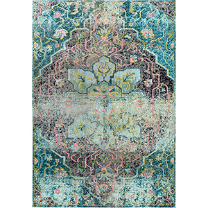 Santos Floral Medallion Aqua Runner: 2 Ft. 6 In. x 8 Ft. Rug