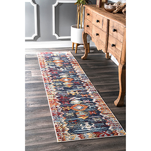 Navy Vintage Abstract Osteen Runner: 2 Ft. x 8 Ft.