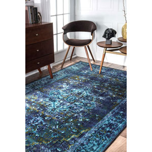 Vintage Reiko Blue Rectangular: 3 Ft. x 5 Ft. Rug