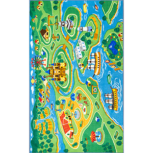 Odil Harbor Town Printed Green Rectangular: 3 Ft. 3 In. x 5 Ft. Rug