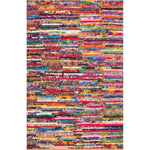 Braided Chindi Cotton Michiko Multicolor Rectangular: 7 Ft. 6 In. x 9 Ft. 6 In. Rug