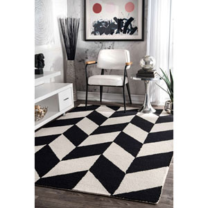 Katte Black and White Runner: 2 Ft. 6 In. x 8 Ft. Rug