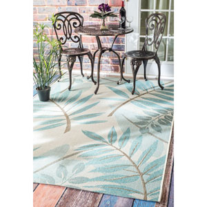 Outdoor Turquoise Rectangular: 5 Ft. 3-Inch x 7 Ft. 6-Inch Area Rug
