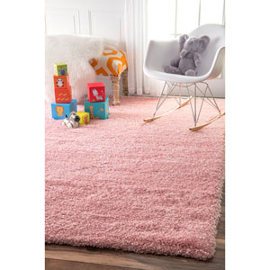 Gynel Cloudy Baby Pink Shag Rectangular: 8 Ft. x 10 Ft. Area Rug