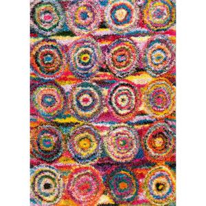 Kindra Circles Shaggy Multicolor Rectangular: 4 Ft. x 6 Ft. Rug
