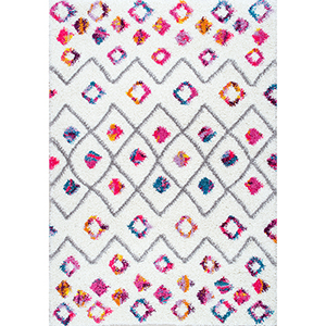 Tatyana Moroccan Diamond Trellis Shaggy Pink Runner: 2 Ft. 8 In. x 8 Ft. Rug