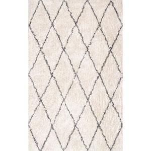 Sheba Cotton Diamond Shaggy Ivory Rectangular: 5 Ft. x 8 Ft. Rug