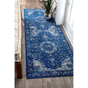 Verona Dark Blue Runner: 2 Ft. 7 In. x 8 Ft. Rug