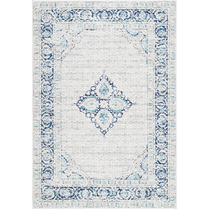Vintage Pauley Light Blue Runner: 2 Ft. 8 In. x 8 Ft. Rug