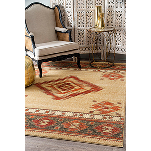 Tribal Diamond Margene Beige Rectangular: 4 Ft. x 6 Ft. Rug