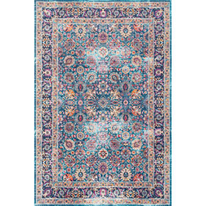 Vintage Persian Floral Isela Blue Runner: 2 Ft. 7 In. x 8 Ft. Rug