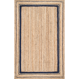 Braided Rikki Border Jute Navy Rectangular: 4 Ft. x 6 Ft. Rug