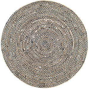 Glinda Natural Fiber Black Round: 6 Ft. Rug