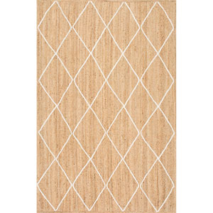 Caleb Braided Trellis Jute Natural Rectangular: 4 Ft. x 6 Ft. Rug