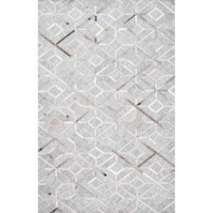 Handmade Cowhide Chanda Grey Rectangular: 9 Ft. x 12 Ft. Rug