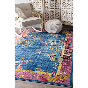 Nia Floral Chinese Art Deco Blue Rectangular: 4 Ft. x 6 Ft. Rug
