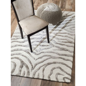 Earth Plush Zebra Grey and Cream Rectangular:  5 Ft. x 8 Ft. Rug
