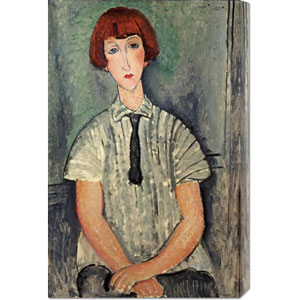 Young Girl In a Striped Shirt by Amedeo Modigliani: 19.4 x 30 Canvas Giclees, Wall Art