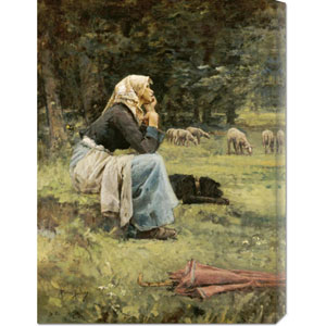 A Young Shepherdess by Pierre Billet: 22.1 x 30 Canvas Giclees, Wall Art