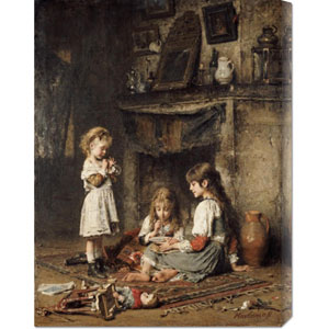Blowing Bubbles by Alexei Alexeiewitsch Harlamoff: 22.8 x 30 Canvas Giclees, Wall Art