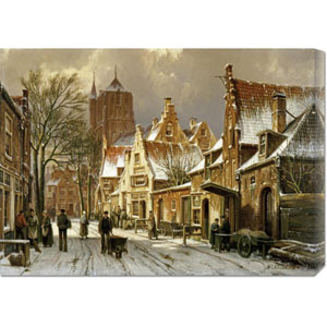 A Winter Street Scene by Willem Koekkoek: 30 x 21.63 Canvas Giclees, Wall Art