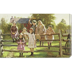 Watching The Train by John George Brown: 30 x 18.99 Canvas Giclees, Wall Art