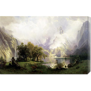 View of Rocky Mountains by Albert Bierstadt: 30 x 19.86 Canvas Giclees, Wall Art