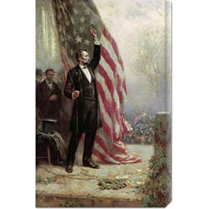 Lincoln at Independence Hall by Jean Leon Gerome Ferris: 18.8 x 30 Canvas Giclees, Wall Art