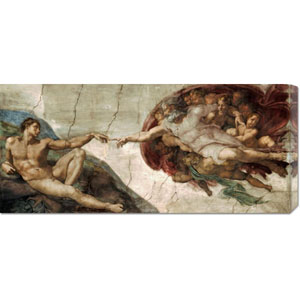 Creation of Adam by Michelangelo: 36 x 16.02 Canvas Giclees, Wall Art
