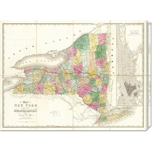 Map of New York, 1839 by David H. Burr: 30 x 22.59 Canvas Giclees, Wall Art