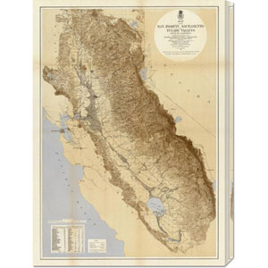Map of the San Joaquin, Sacramento and Tulare Valleys, 1873: 21.7 x 30 Canvas Giclees, Wall Art