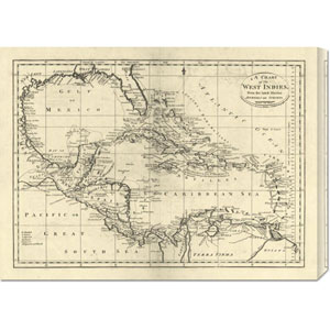 Chart of the West Indies, 1795 by Mathew Carey: 30 x 22.02 Canvas Giclees, Wall Art